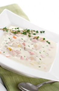Creamy potato soup studded with salty chunks of ham, sweet carrots and savory leeks.  Mmmm!  Go grab the recipe from my food blog here: [url=http://makemecook.com/archive/2005/12/leftover-holiday-ham/]Ham & Potato Soup Recipe[/url]